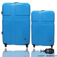 【Just Beetle】甜蜜愛琴海PC亮麗行李箱/旅行箱/登機箱/拉桿箱兩件組(28+24吋)時尚白