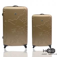 【Just Beetle】地圖系列ABS輕硬殼旅行箱/行李箱/拉桿箱/登機箱兩件組(28+20吋)