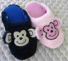 (e鞋院)【可愛小猴】絨毛兒童室內拖鞋(2雙)~11特賣