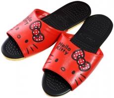 (e鞋院)HELLO KITTY- 按摩顆粒室內皮拖鞋 (紅)   ~任選2雙~