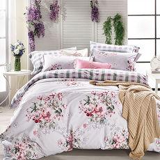加大-【Betrise】花影纏綿-環保印染德國防蹣抗菌100%精梳棉四件式兩用被床包組-特賣