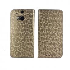 HOMOSA HTC One M8 可站立鑽石皮套-鑽石黑金