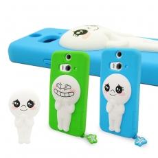 LINE原廠- HTC Butterfly 2 專用 Moon饅頭人 矽膠保護殼藍