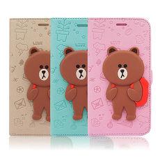 LINE原廠 - Samsung Galaxy Note4 背包熊大磁吸公仔立架側掀皮套