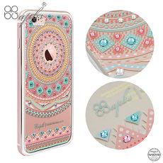 apbs iPhone6s/6 & 6s Plus/6 Plus 施華彩鑽鋁合金屬框手機殼-玫瑰金蘋果圖騰i6s Plus/i6 Plus 5.5