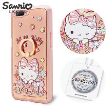 三麗鷗 Kitty OPPO R11 施華彩鑽鏡面指環扣手機殼-緞帶凱蒂
