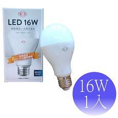 【旭光】16W LED E27 綠能燈泡-1入(白光/黃光)黃光