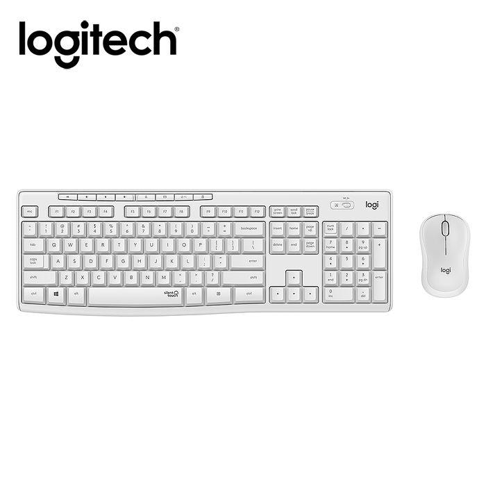 Logitech羅技 MK295 靜音鍵鼠組-珍珠白