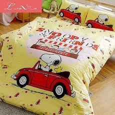 Luna Vita X SNOOPY史努比 100%純棉 單人 舖棉兩用被床包組-兜風趣