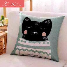 Luna Vita 居家簡約風采棉麻 靠枕/抱枕-瞌睡貓