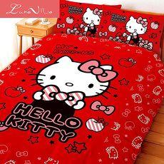 Luna Vita 台灣製造正版授權卡通品牌 床包被套四件組-KT貼心小物(紅)