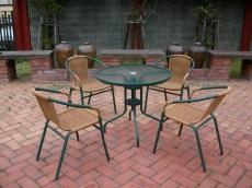 BROTHER 兄弟牌PE藤椅一桌四椅組 (綠色)