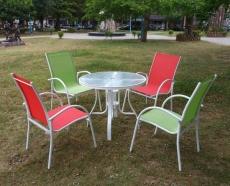 BROTHER 兄弟牌90cm鋁製庭院桌+鋁製紗網椅