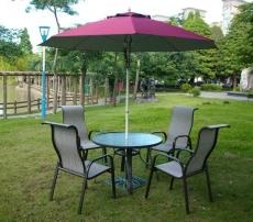 BROTHER 兄弟牌105cm鋁製庭院桌+鋁製高背紗網椅+9尺玻纖太陽傘+12kg傘座