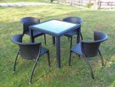 BROTHER 兄弟牌80cm鋁製膠藤方桌+凡賽斯鋁製膠藤椅