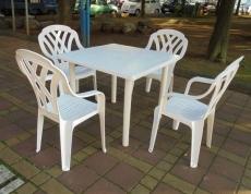 Brother Club~兄弟牌歐式風情~塑膠格網高背椅+91cm塑膠方桌一桌四椅組
