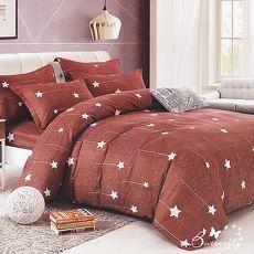 BUTTERFLY-台灣製造柔絲絨-標準5尺雙人薄式床包枕套三件式-星星軌跡