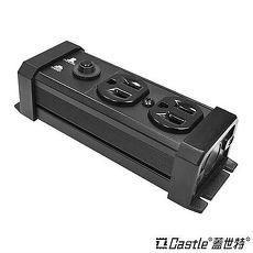 Castle蓋世特 防火防雷電源突波保護插座 3孔2座 尊爵黑 60cm