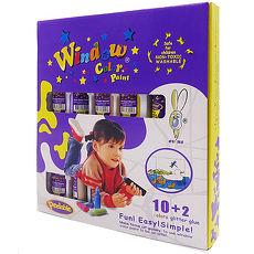 【愛玩色創意館】愛玩色 兒童無毒彩繪玻璃貼-盒裝組 10+2 色-台灣製