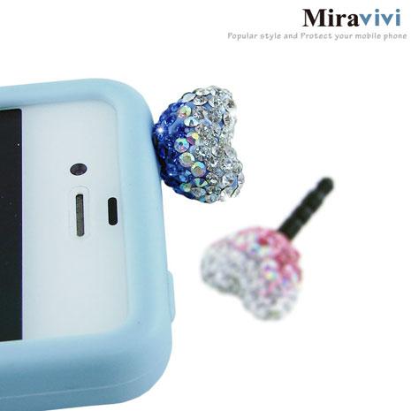Miravivi 繽紛水鑽系列耳機防塵塞-水鑽愛心/粉藍