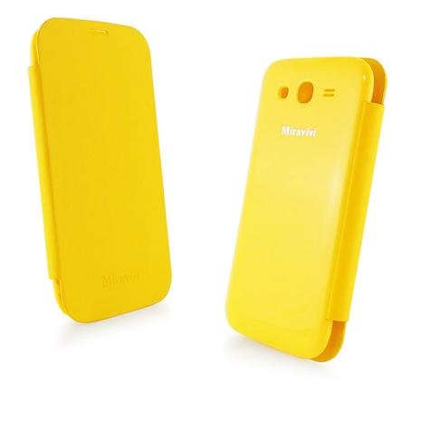 Miravivi 時尚簡約 Samsung GALAXY Grand Duos翻頁式皮套(電池背蓋)-活力黃