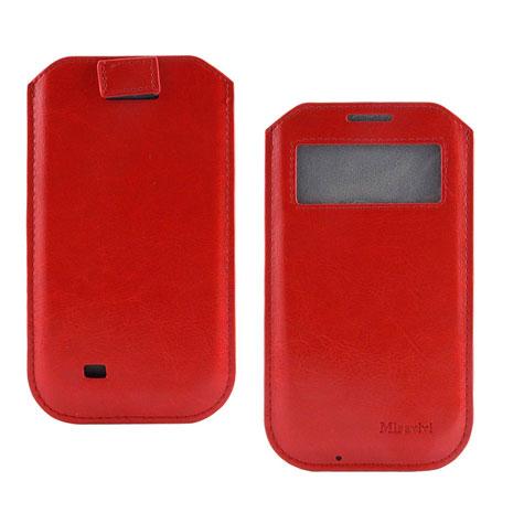 Miravivi 4.7吋通用簡約時尚感應觸控開窗式皮革手機袋-熱情紅