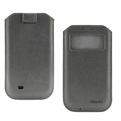 Miravivi 4.7吋通用簡約時尚感應觸控開窗式皮革手機袋-時尚灰