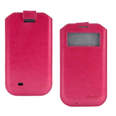 Miravivi 4.7吋通用簡約時尚感應觸控開窗式皮革手機袋-蜜桃紅