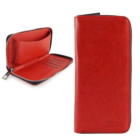 Miravivi 5吋通用 簡約時尚皮夾式皮革手機袋-熱情紅