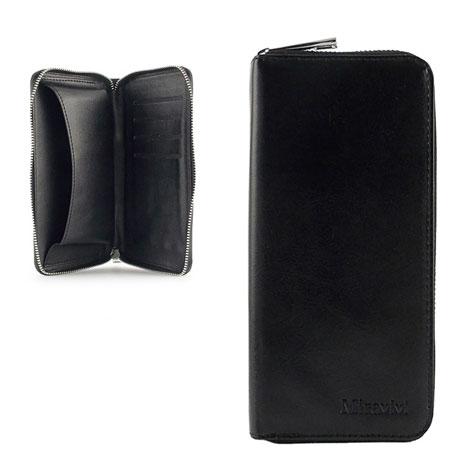 Miravivi 5吋通用 簡約時尚皮夾式皮革手機袋-時尚黑