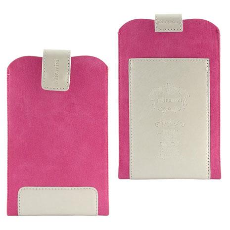 Miravivi 5.3吋通用 時尚撞色皮革超纖雙料拼接手機袋-亮麗桃