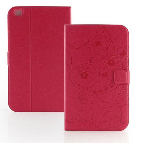 【Rebecca Bonbon】Samsung Galaxy tab3 8.0 知性甜心壓紋皮套-蜜桃紅