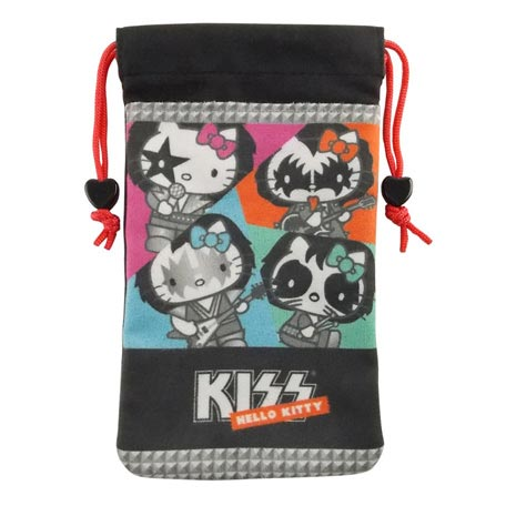 【KISS HELLO KITTY 】4.7吋通用搖滾雙層收納束口袋-KISS樂團