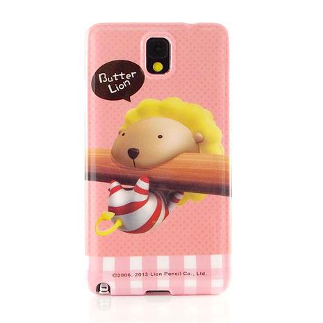 Butter Lion 奶油獅 Samsung Galaxy note3 時尚彩繪保護套-咬筆奶油獅
