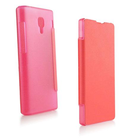 Miravivi Xiaomi 紅米機 繽紛糖果色薄型側開皮套-蜜桃粉