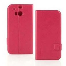 Miravivi HTC One(M8)可立式十字紋薄型筆記本皮套-蜜桃紅
