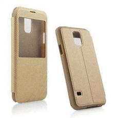 Miravivi Samsung Galaxy S5 簡約透視視窗薄型側開皮套-金
