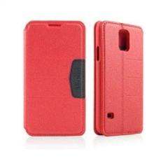 Miravivi Samsung Galaxy S5撞色磁扣側掀可立式皮套-熱情紅
