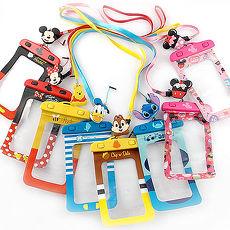 Disney 5吋通用可愛繽紛手機防水袋(附夾子捲線器耳機塞)