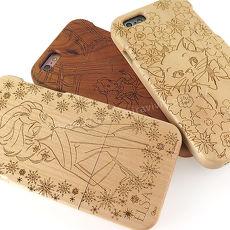 Disney iPhone 6s/6 原木/木頭雷雕保護殼/手機殼-女孩系列