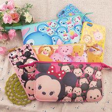 【Disney】迪士尼iPhone6 / 6S彩繪4.7保護軟套+手機袋禮盒組-Tsum Tsum系列6.6S-米奇米妮