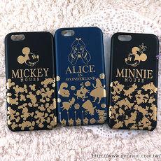 【Disney】迪士尼iPhone6 / 6S時尚燙金皮革4.7保護殼-米奇.米妮.愛麗絲6.6S-深藍愛麗絲
